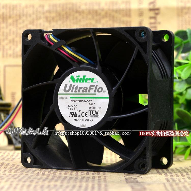 For NIDEC V80E24BS2A5-07 A06 24V 1.05A 8CM 8038 4-wire inverter fan