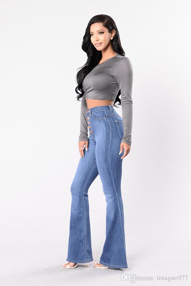 10fb9bbd6f736 Acheter Bell Bottom Women Jeans Jeans Taille Haute Jeans Jeans À Boutonnière  Boutonnée Pantalon Évasé De $14.86 Du Tinaguo977 | DHgate.Com