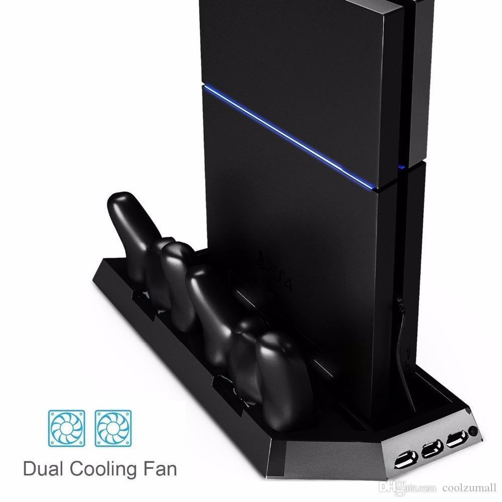 PS4 عمودي الوقوف مروحة تبريد مزدوج محطة شحن للبلاي ستيشن 4 نيتها إصدار قبضة تحكم 4 مع المزدوجة USB الموانئ HUB شاحن السوداء