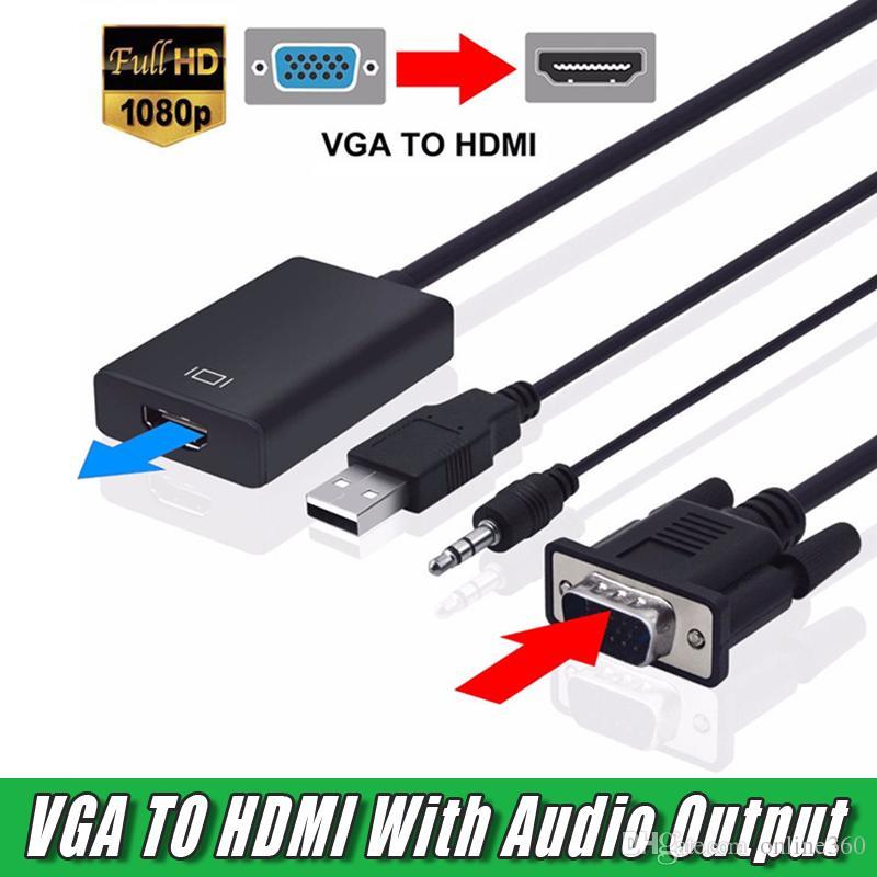 Neue VGA-Stecker auf HDMI-Buchse Konverter-Adapterkabel mit Audio-Ausgang 1080 P VGA HDMI-Adapter für PC Laptop auf HDTV-Projektor