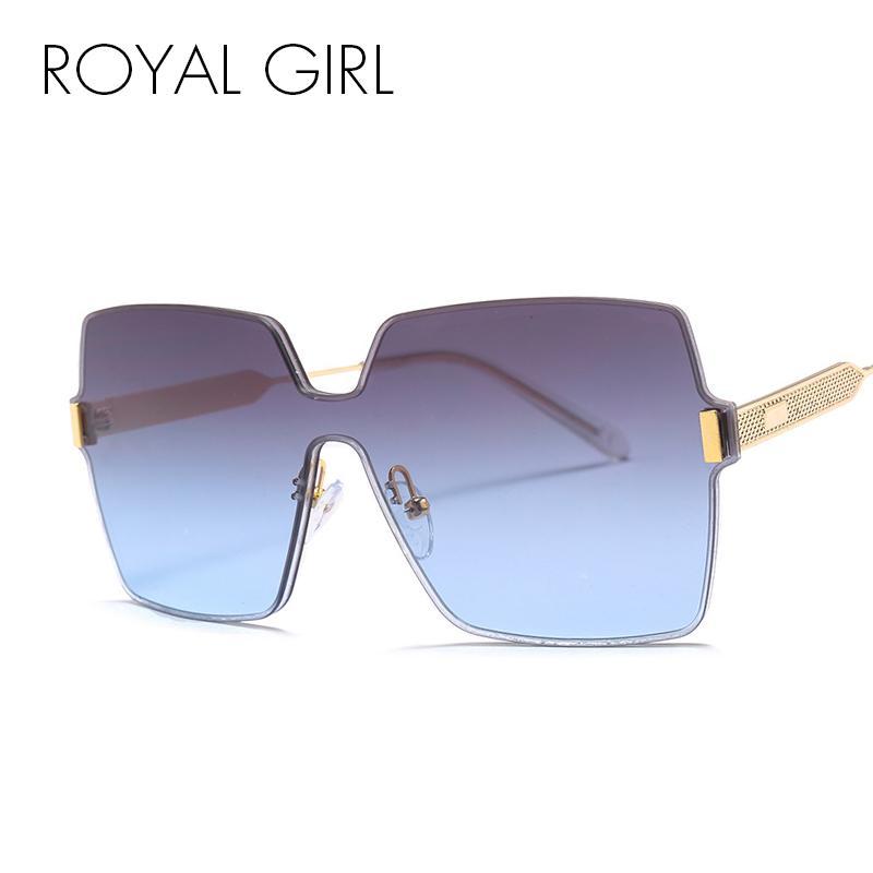 Wholesale grandes gafas de sol sin montura Mujeres 2018 diseñador de marca rojo rosa gafas de sol hombres marco de metal oculos para mujer UV400 SS936 MNWBL