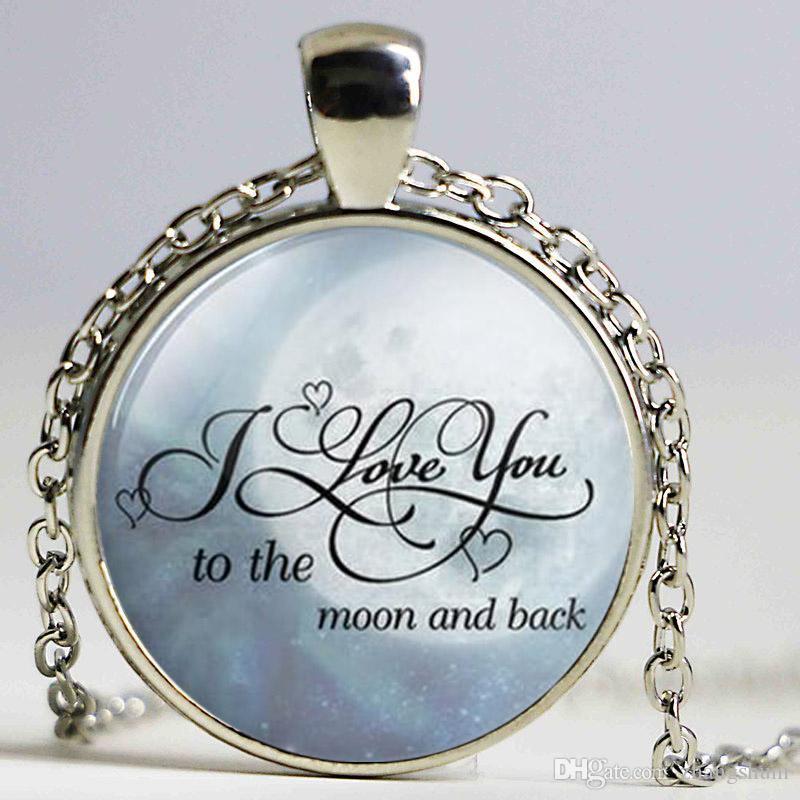Eu te amo à lua e colar de volta te amo à lua Moda pingente de Presentes Valentine aniversário