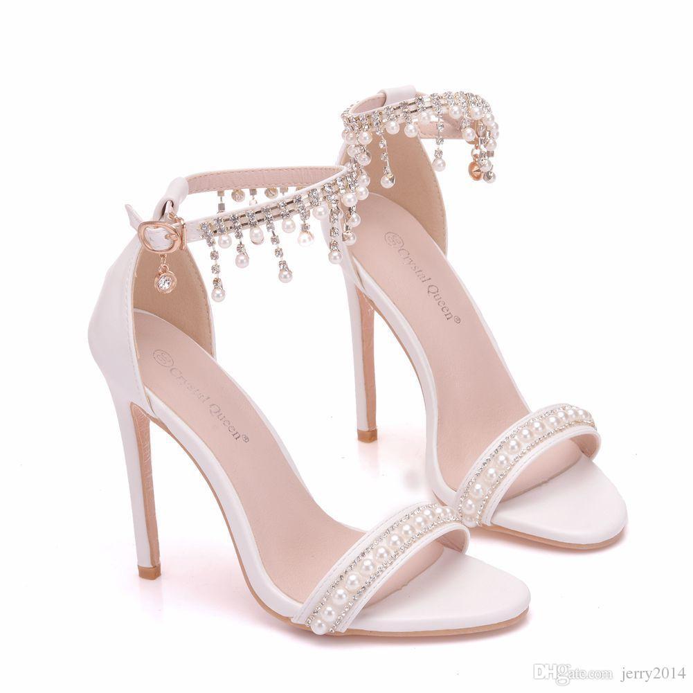 Nouveau Blanc Perles Chaussures À Bout Ouvert Pour Les Femmes Cristal Talons Hauts De Mode Talons Aiguilles De Mariage Chaussures Cheville Bande Sandales De Mariée