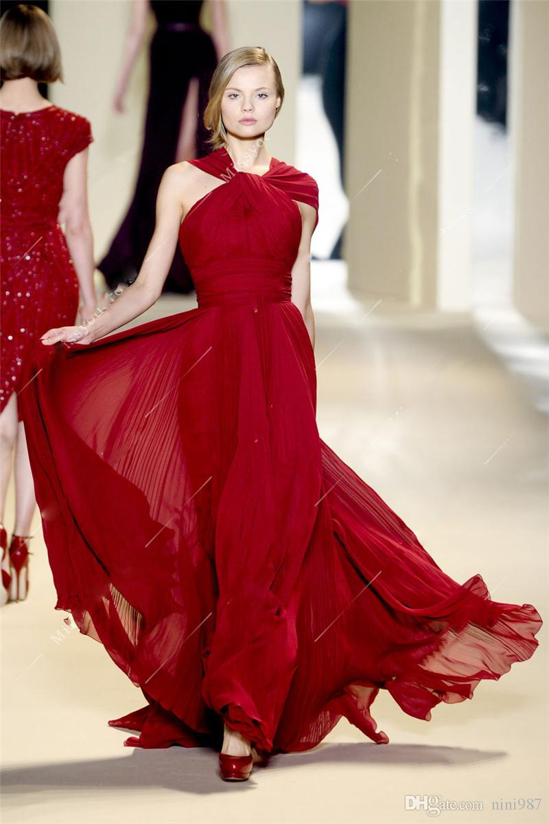 Ünlüsü tasarım kırmızı renk Abiye 2018 ücretsiz kargo Basamaklı ruffles Kat Uzunluk şifon Örgün Abiye giyim