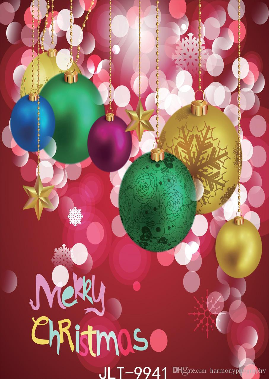 Boże Narodzenie tło kropka czerwony kolor balon śniegu photography backdrops ściereczka winylowa Dostosuj do studia fotograficznego na imprezę