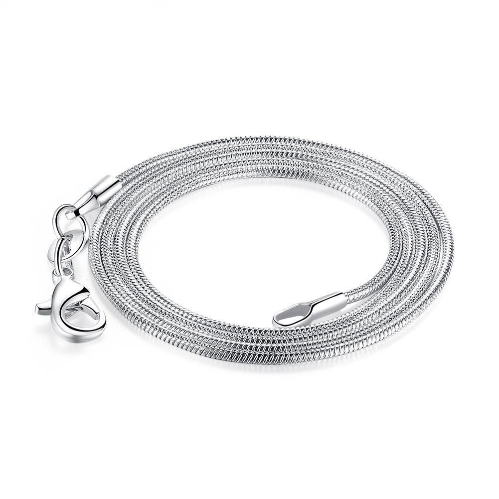 "Envío gratis 100pcs / lot de alta calidad 925 plata de ley Smooth Snake Cadenas de serpientes Número grande 26 ""28"" 30 ""1 mm Charms Choker Fashion Jewel"