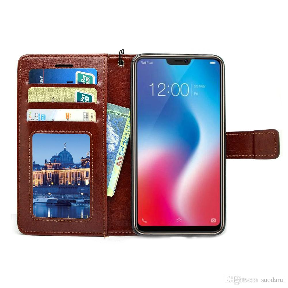 timeless design 0bdd8 15f37 Flip Leather Case For Vivo V9 PU + TPU Leather Magnetic Book Wallet Cover  Pouch With Lanyard Customize Phone Cases Mobile Phone Case From Suodarui,  ...