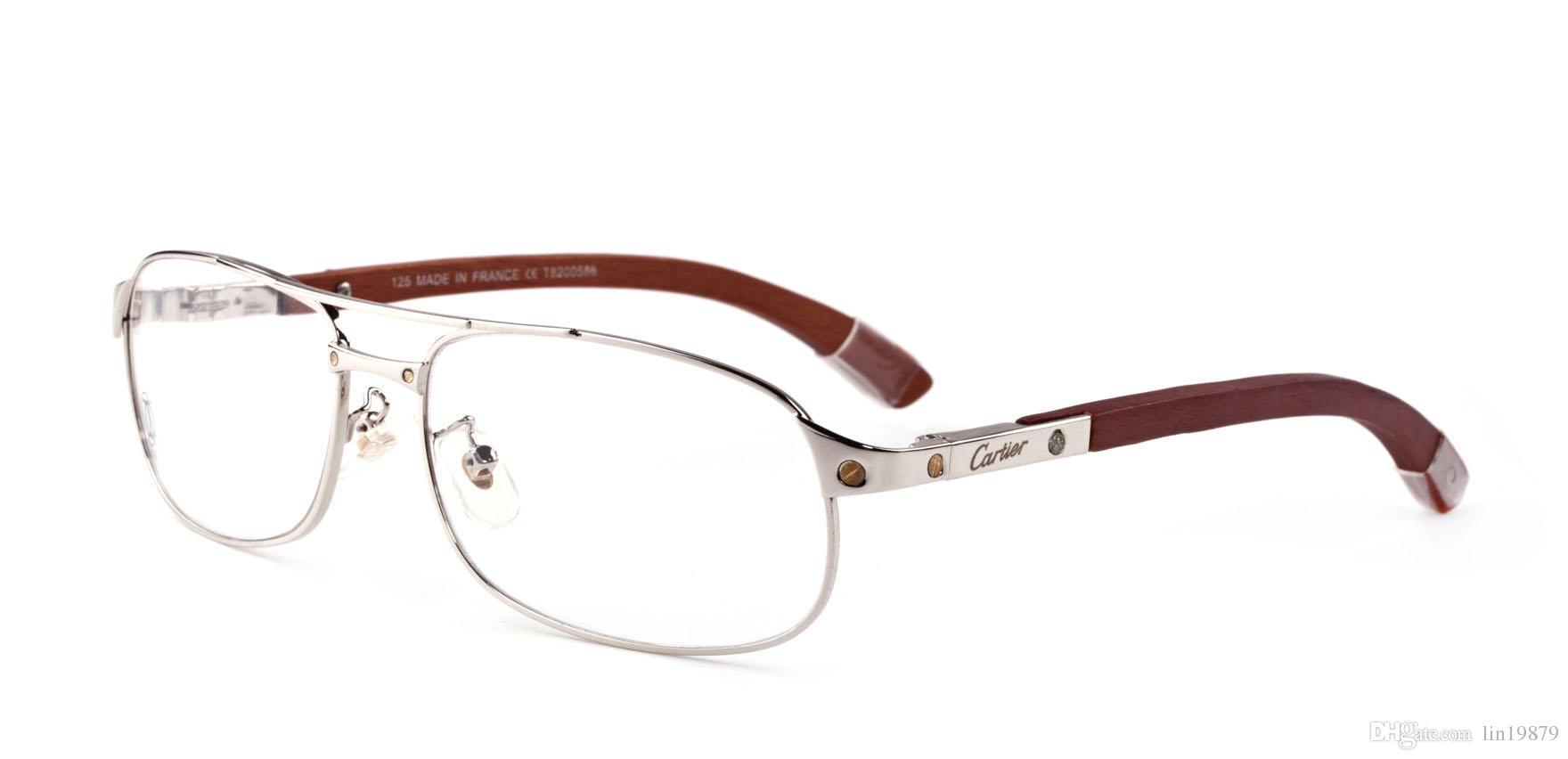 Full metal Sliver Gafas de sol Marcos de madera piernas Hombres Diseñador de la marca mujeres Marcos Oculos De Sol Feminino gafas de sol anteojos