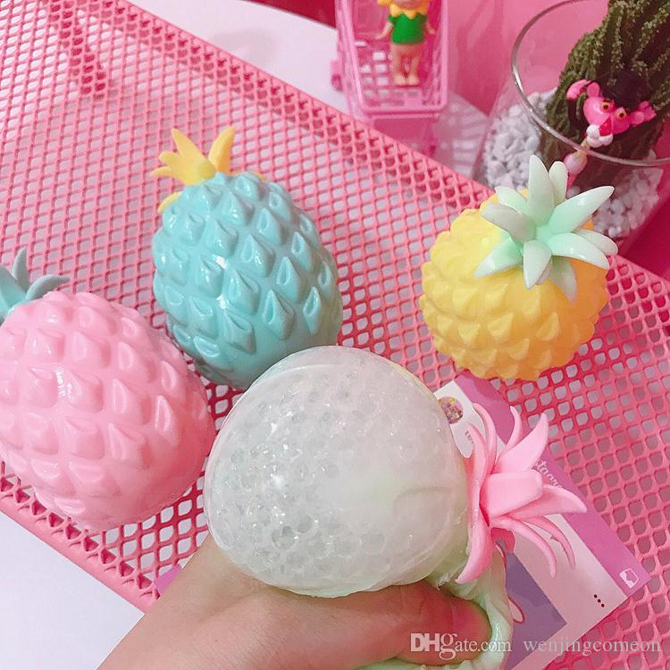 ananas anti stress uva palla divertente gadget vent decompressione giocattoli stress autismo molle sollievo mano polso spremere bambino giocattolo bambino 4 colori