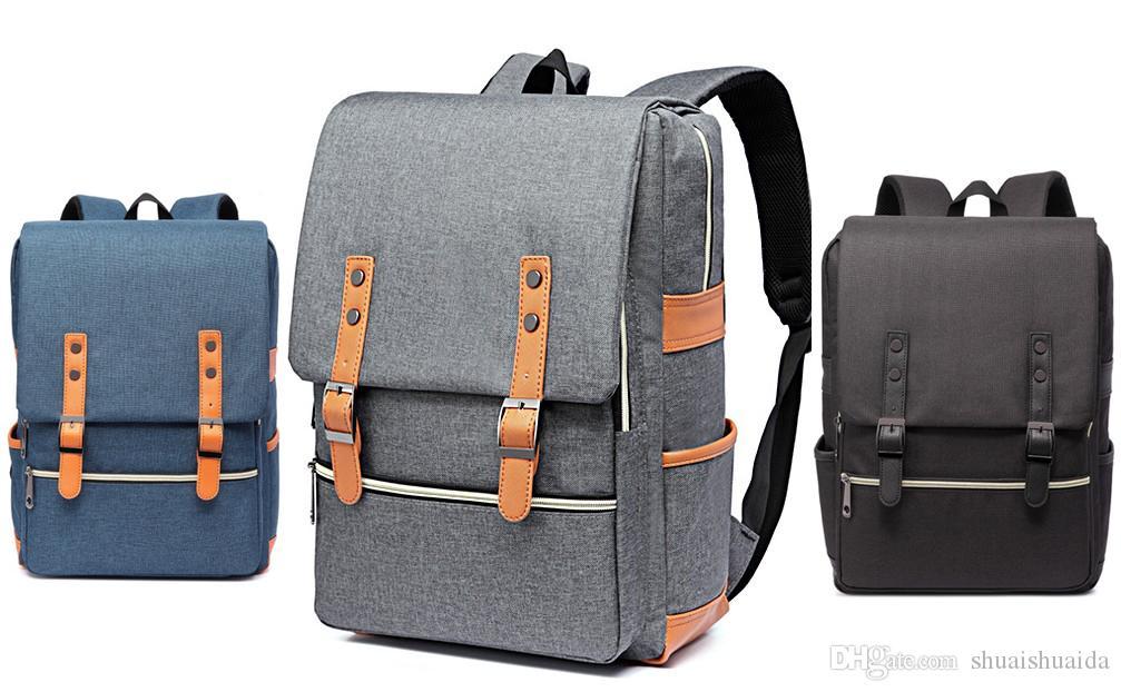 2018 Computer shoulder bag Outdoor sports travel backpack Schoolbag Knapsack Canvas Pure color Men and women School Bags Handbag 20-35L A201