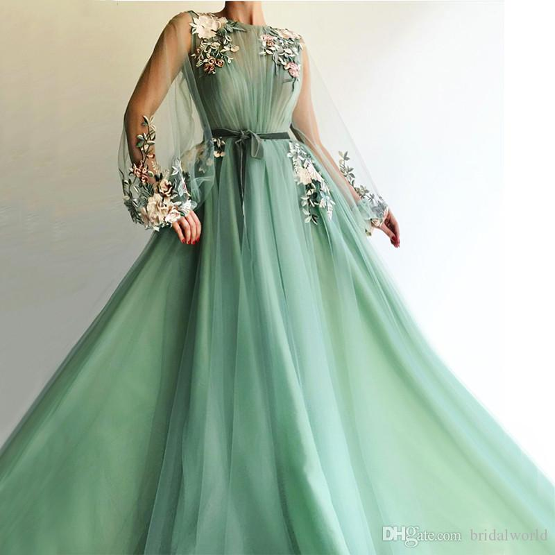 2018 Sheer Long Sleeve See through Evening Dresses Green Embroidery A-line Formal Dress Party Gown Tulle Handmade Flower Robe De Soiree