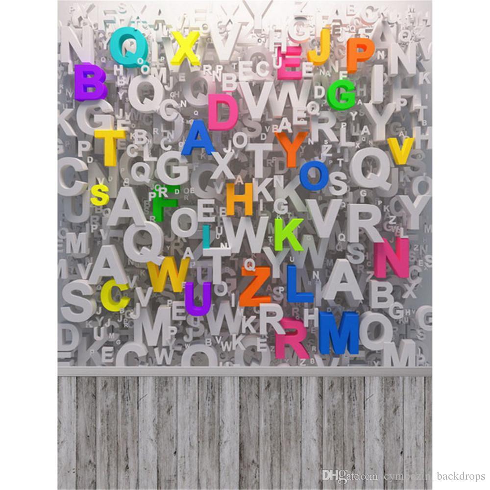 Digital Stampato Alfabeti Parete 3D Fondali Fotografia Vinile Bambino Foto neonato Pops Bambini Bambini Sfondi fotografici Pavimento in legno