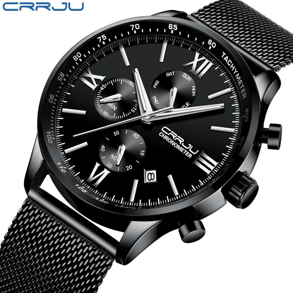 Мода мужские часы спортивные часы хронометраж Crrju новый случайный нержавеющей стали сетки наручные часы для мужчин Мужские часы Drop доставка