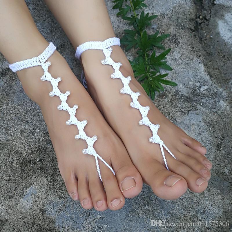 Boda en la playa Crochet Sandalias descalzas, joyería del pie, zapatos desnudos, atractivo, yoga, tobillera, danza del vientre, piscina de la playa, tobillera nupcial.