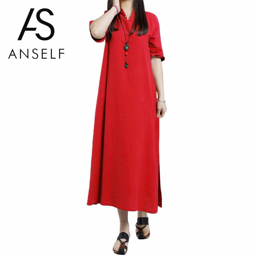 Fashion Women Plus Size 3XL 4XL 5XL Boho Long Dresses V Neck Keyhole Button Half Sleeve Side Slit Solid Loose Oversize Robe 2018