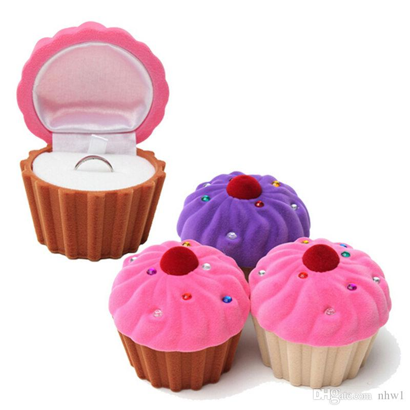 Cute Cake Cup Shape Velvet Ring Box Earring Pendant Locket Necklace Jewelry Case For Wedding Ring Valentine's Day Gift Organizer