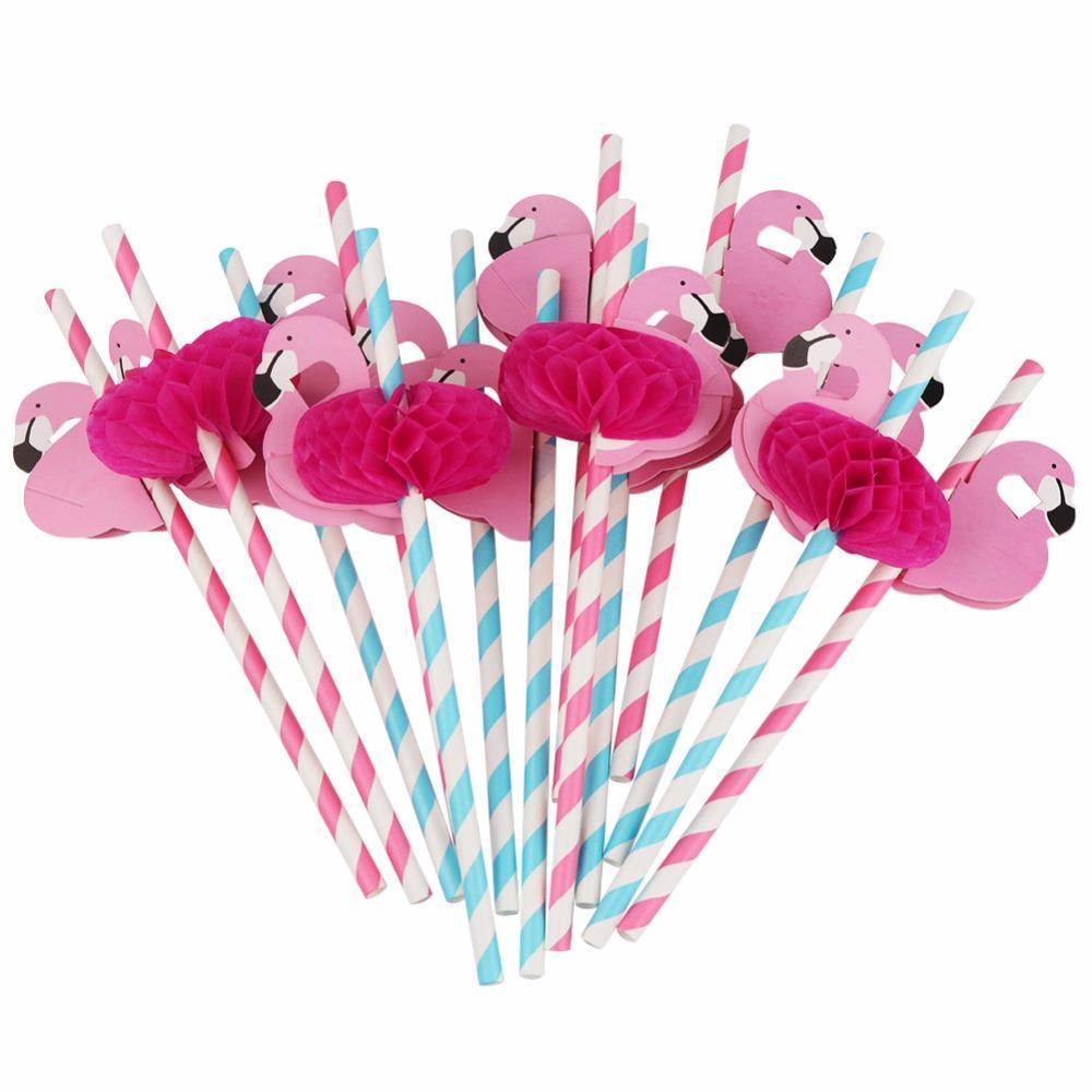 Umweltfreundliche 100 stücke Flamingo Papier Strohhalme Trinkhalme Hawaiianische Party Dekor Einweg Geschirr Geburtstag Party Dekorationen Kinder qqsmj