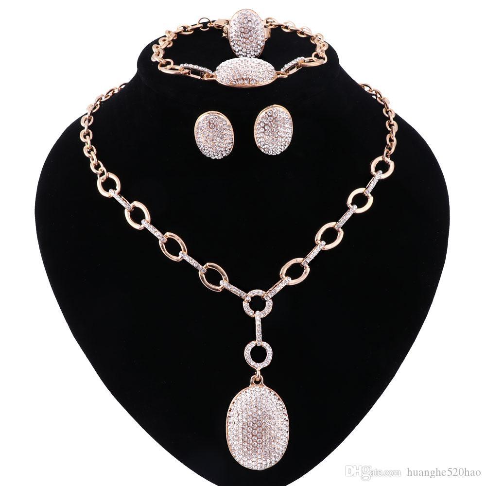 Set Di Gioielli Per Le Donne Damigella D'Onore Di Cristallo Pieno Beads Africani Jewelry Set Color Oro Palla Etiope Gioielli Da Sposa