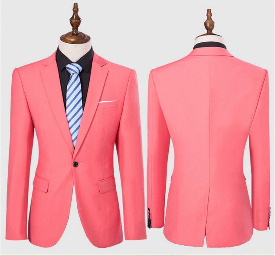 الرجال الوردي الدعاوى حقق طوق يتأهل الدعاوى زر واحد 2 قطعة (سترة + بنطلون) لتناول العشاء