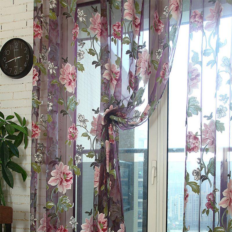 Window Curtains Durable Floral Tulle Voile Curtain Sheer Panel Drape Scarfs Elegant Modern Luxury Home Decor Retro Rose Window Drape Valance