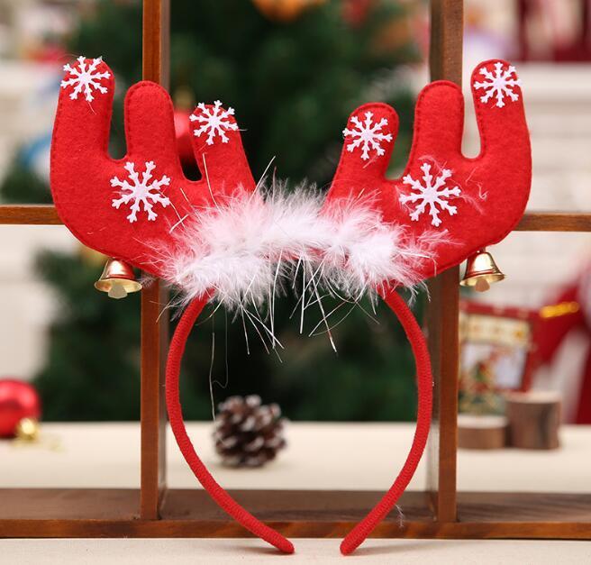 Feliz Navidad adornos campana de plumas de la cabeza banda decoraciones cornamentas de Navidad diadema fiesta decoraciones de Navidad diadema de tela regalos