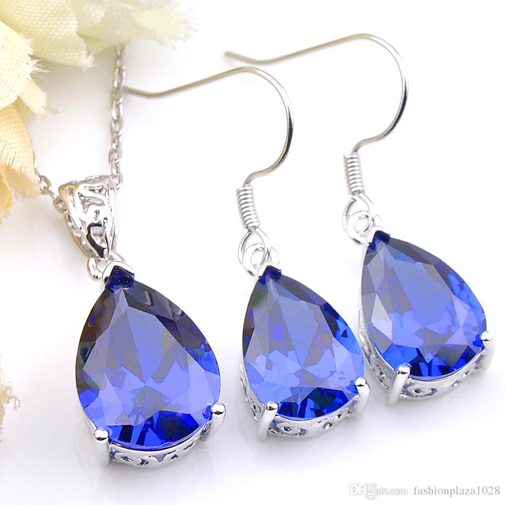 Luckyshine monili Wedding Blue Pear Cut Topaz Orecchini pendenti di Imposta 925 Sterling Silver collane dei monili delle donne fissa il trasporto libero p0227