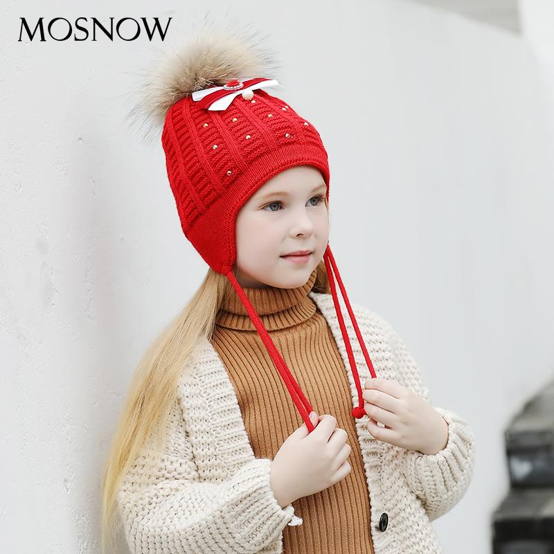 MOSNOW Hut Mädchen Kinder Schöne Bowknot Perle Pelz Bommel Hohe Qualität 2018 Neue Gestrickte Mode Mützen Skullies Caps # MZ845 D18110601