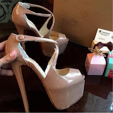 Neue Designer Marke High Heels Frau Mode Red Bottom Straps Pumps Nude / Black Cross Heels Frauen Top Qualität Schuhe
