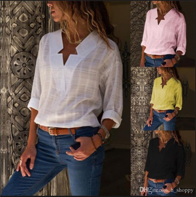 2018 sonbahar moda V Yaka düzensiz ekose uzun kollu bluz gömlek