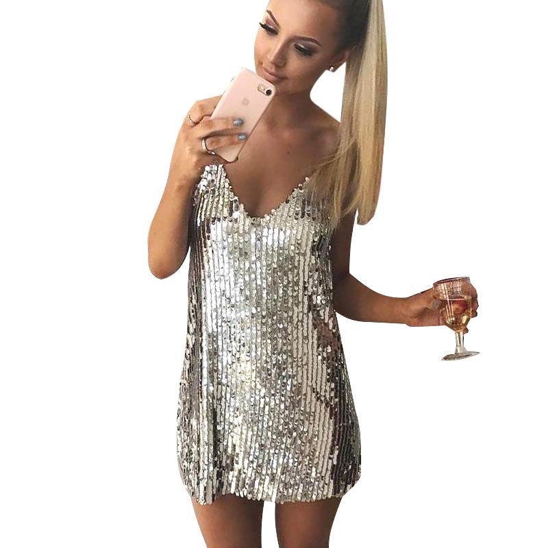 44a57e140347 Compre Vestido De Mujer Sexy Con Lentejuelas Plateadas Vestido Corto Sin  Mangas Con Cuello En V Elegantes Vestidos De Fiesta De Noche Casuales 2018  ...