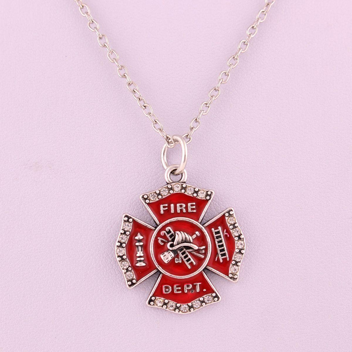 Mode Legierung Red Emaille Feuerwehrmann Feuerabteilung Abzeichen Charm Pendent Halskette Personalisierte Beruf Schmuck machen