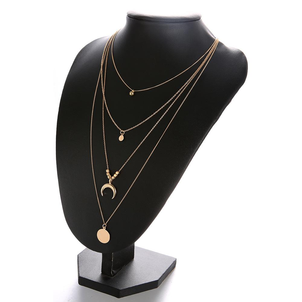 Alloy gold plated retro multilayer necklace vintage bohemia style small moon charm pendant necklace yiwu jewelry factory wholesale
