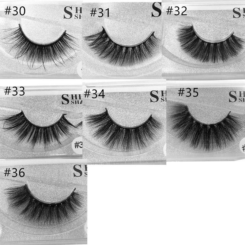 stock 7 styles MINK Eyelashes Selling 1pair/lot 100% Real Siberian 3D Full Strip False Eyelash Long Individual Eyelashes Lashes Extension