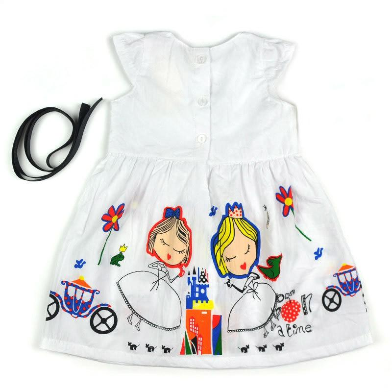 Fashion Summer Girls Dress Kids Casual Clothes Baby Girl Dress with Sashes Robe Princess Dress Abbigliamento per bambini