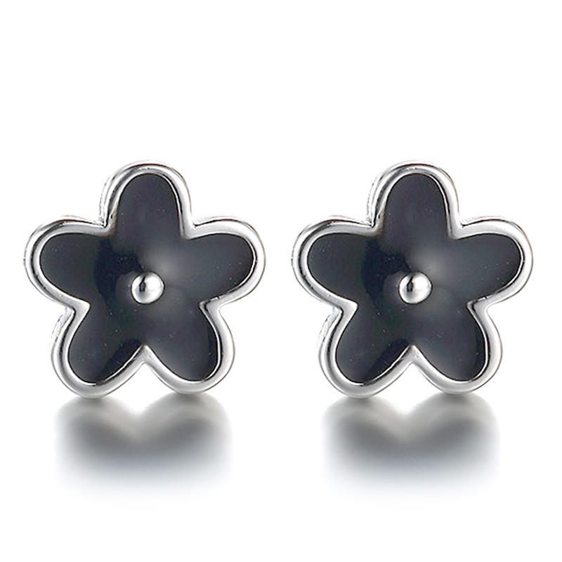 Woman Crystal Glue Plate With Silver Ear Nail Temperament Woman Black Plum Blossom Earring Popular Sweet