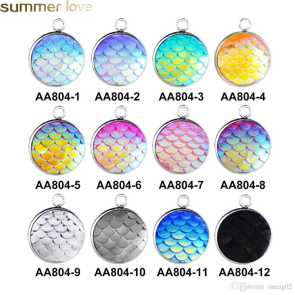 16mm Round Charm For Necklace And Bracelets Jewelry Making Stainless Steel Resin Fish Scales Mermaid Pendant