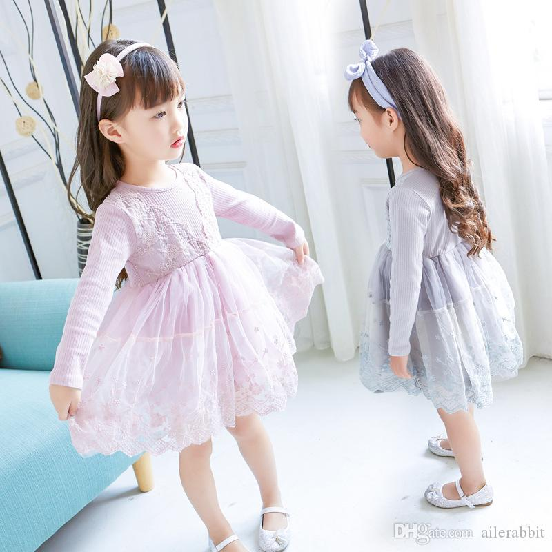 New Girls Long Sleeve Dresses Fall Fashion Lace V Collar Splice Princess Puff Dress Party Gift Pink Is Immortal