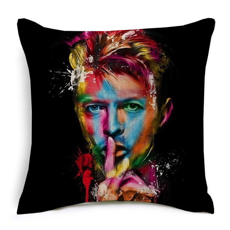 David Bowie Cushion Covers Rock And Roll Music Star Cushion Cover Decorative Linen Cotton Pillow Case For Sofa Seat Chair