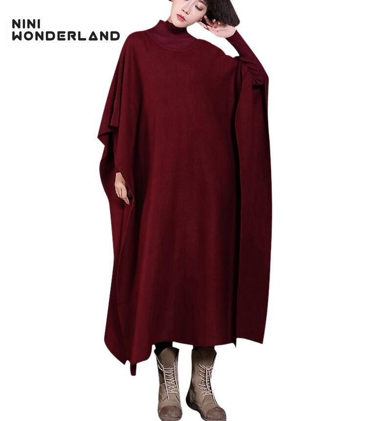 NINI PAÍS MARAVILHOSO inverno camisola de malha camisola das mulheres Batwing manga engrossar malha quente longo casaco de moda plus size
