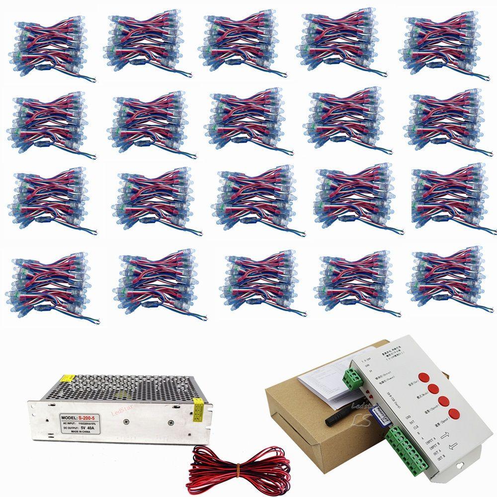 1000 шт. Светодиодный пиксель WS2811 с IC 12 мм модуль IP68 RGB дифференцированный адресуемый для канала буквы подписания + T-500 Controller + адаптер питания
