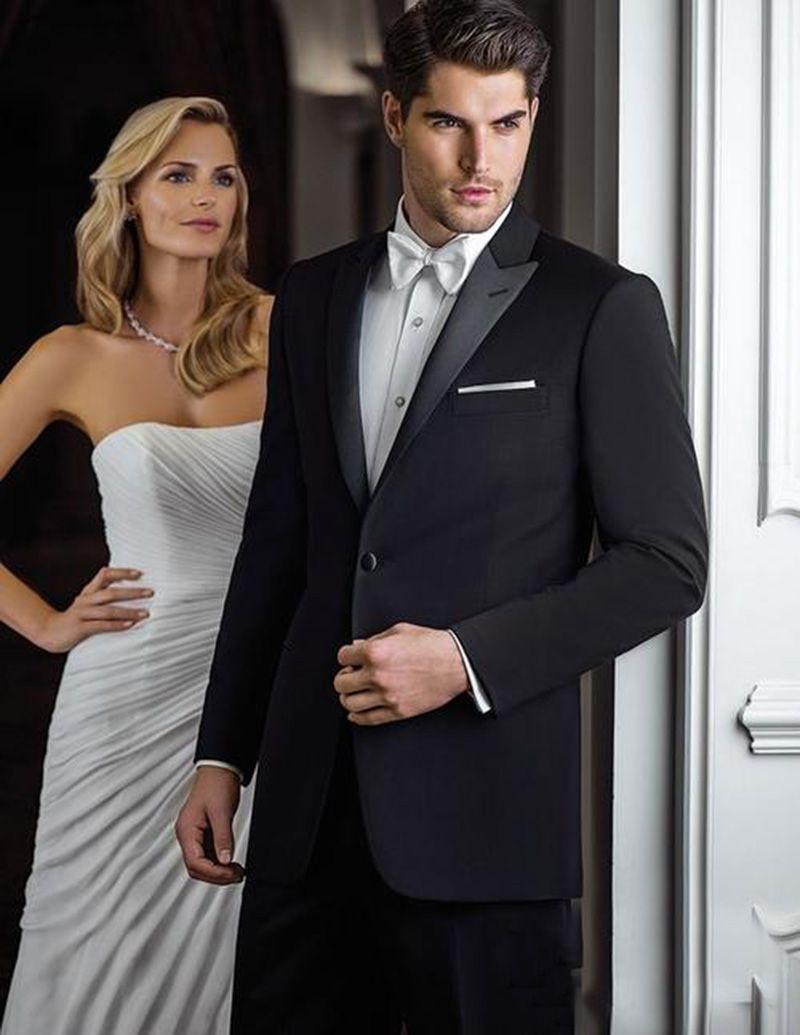 2018 hombres vestidos de blanco enarboló la solapa de la boda de los trajes del novio por encargo Slim Fit Casual esmoquin mejor fiesta de fin de curso del vestido de noche Hombre 2Pieces