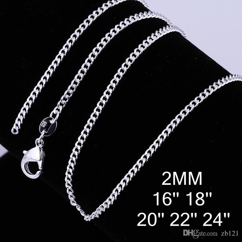 New Wholesale-925 sterling Silver 2mm curb chain 16-24inch FREE Shipping women men 925 sterling silver side chain for pendant necklace
