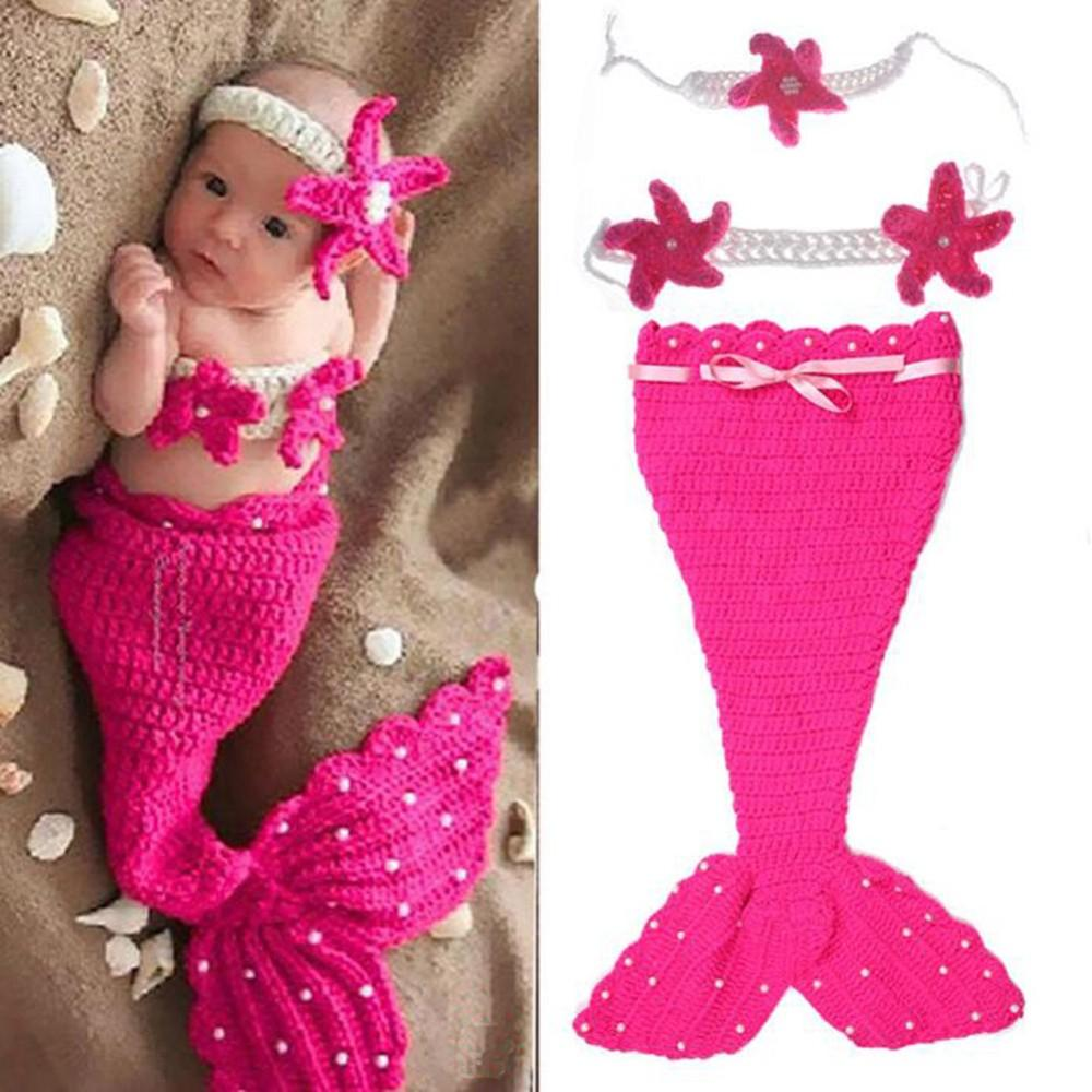 Mermaid Newborn Baby Girl Photo Photography Props Infant Handmade Outfits Crochet Knit Cocoon Set Knitted baby Costume