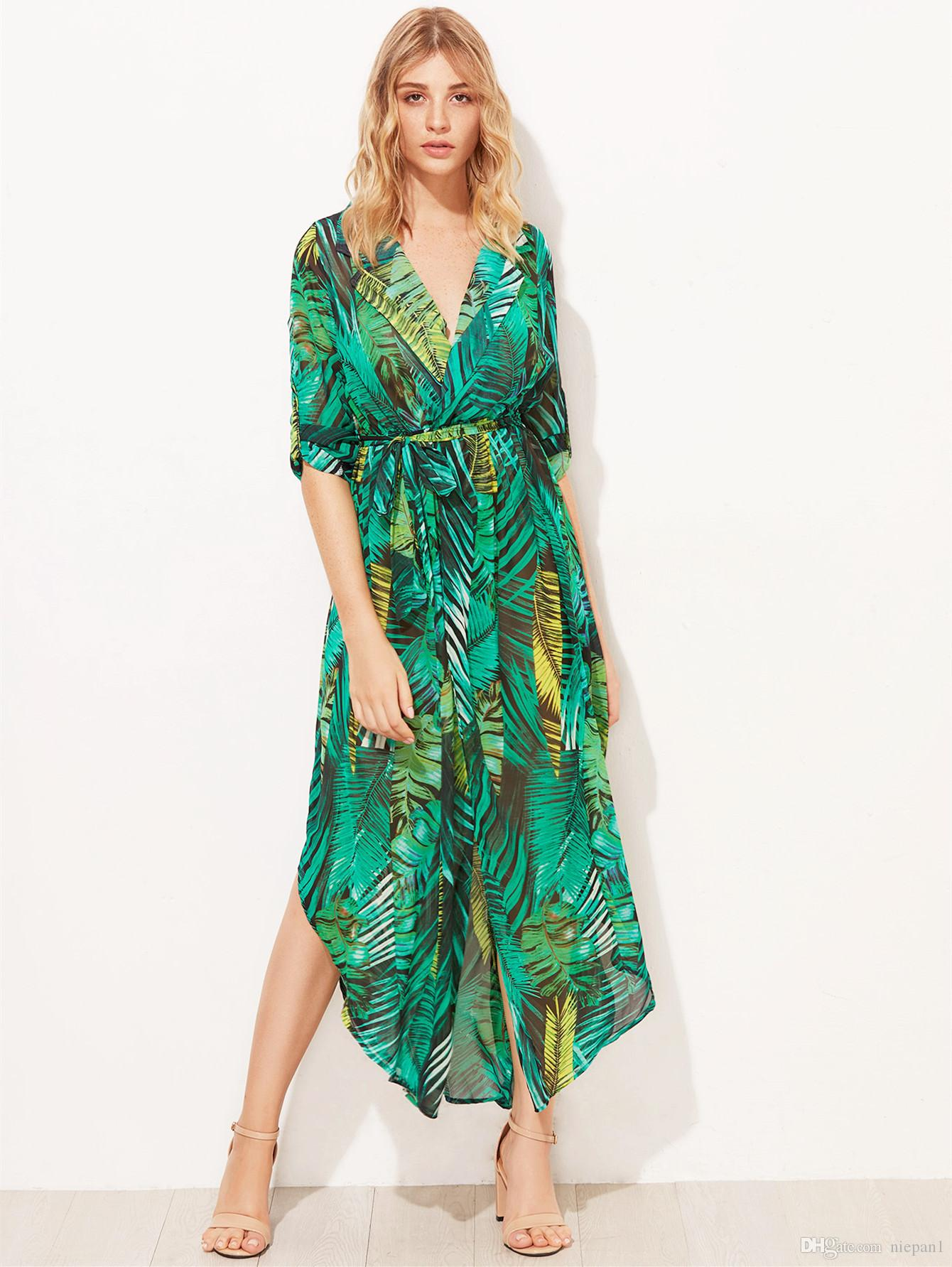 Chiffon Long Sleeve Dress Green Tropical Print Vintage Maxi Dresses Boho  Casual V Neck Belt Lace Up Tunic Draped Plus Size Dress Black And Gold ...