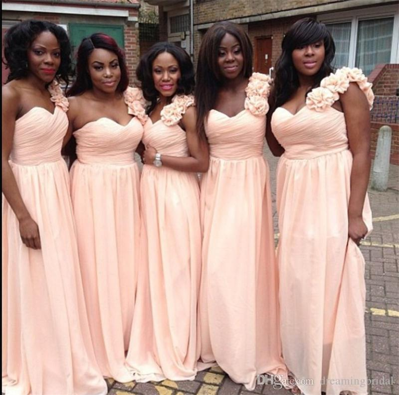 African Black Girl Bridesmaids Dresses New Flower Chiffon Pink A Line Ruffle Floor Length Bridesmaid Dress For Wedding Gowns