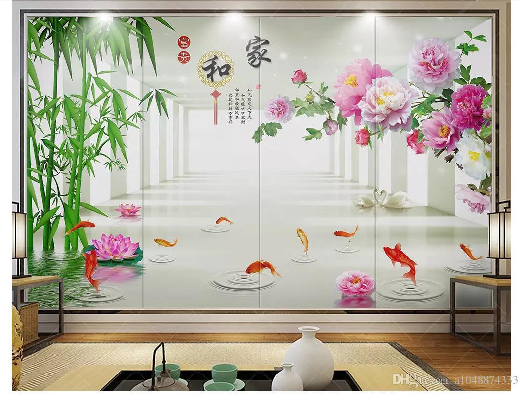 도매 맞춤형 사진 벽 벽화 벽지 홈 및 벽면에 대한 풍부한 3 차원 공간 대나무 연꽃 모란 비디오 벽지 3d