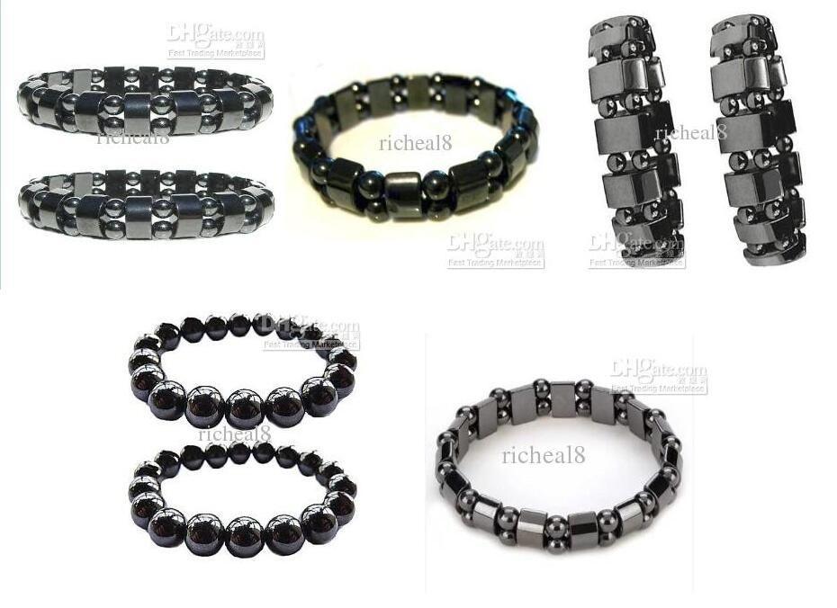retail free 2pcs New arrival Magnetic Hematite Fashion Pain Hematite Stone Therapy Health Care Magnet Hematite Beads Bracelet Men's Jewelry