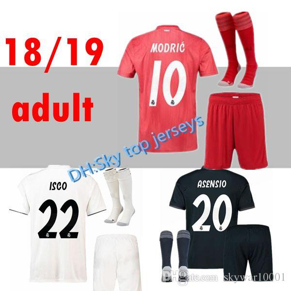Conjuntos para adultos com meias 2018 2019 Real madrid futebol Jersey 18 19 CR7 RONALDO MODAL BALE ISCO RAMOS Asensio home away camisas de futebol