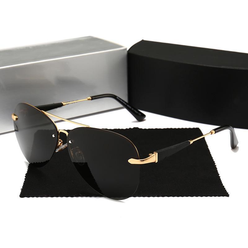 Cubojue Mens occhiali da sole polarizzati Aviation Occhiali da sole senza orlo per il maschio di guida design di grande misura 144 millimetri di Sunglass Man HD UV