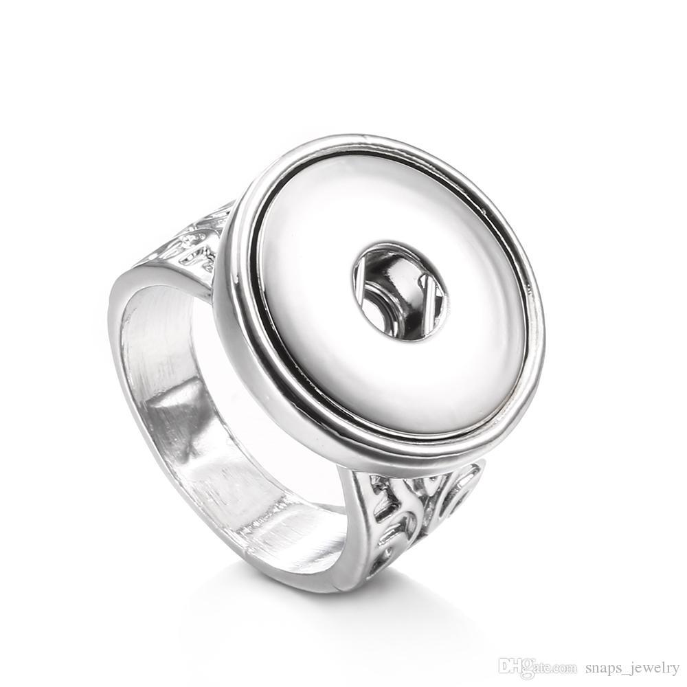Noosa Chunks Snap Jewelry Posrebrzany 4Size 18mm Snap Button Pierścień dla kobiet Mężczyźni Biżuteria